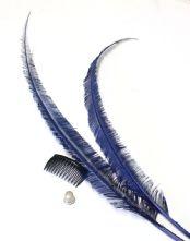 Long Cut Navy Blue Ostrich Feather